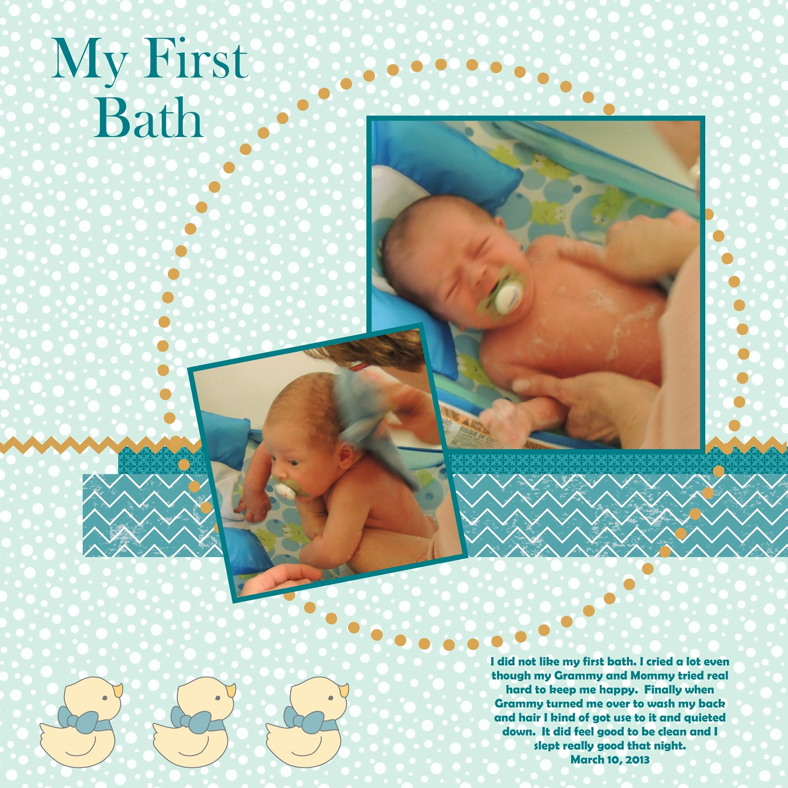 Stampin For Me My First Bath Scrapbook Page