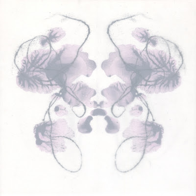 """Erin Curry. drawing. tangleblot (same but different two). ink, handspun thread graphite print and mylar on wood. 6""""x6"""" ©2012"""