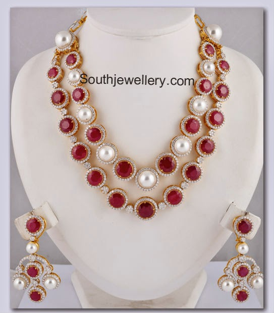 ruby pearl diamond necklace