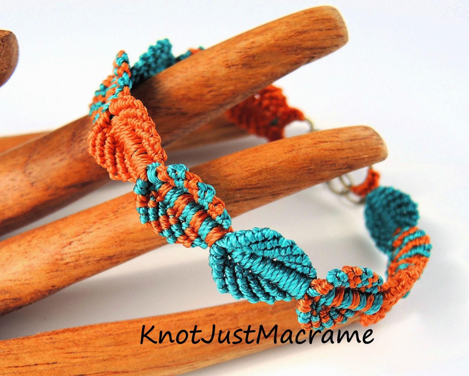 Falling Leaves Micro Macrame Bracelet by Sherri Stokey of Knot Just Macrame.