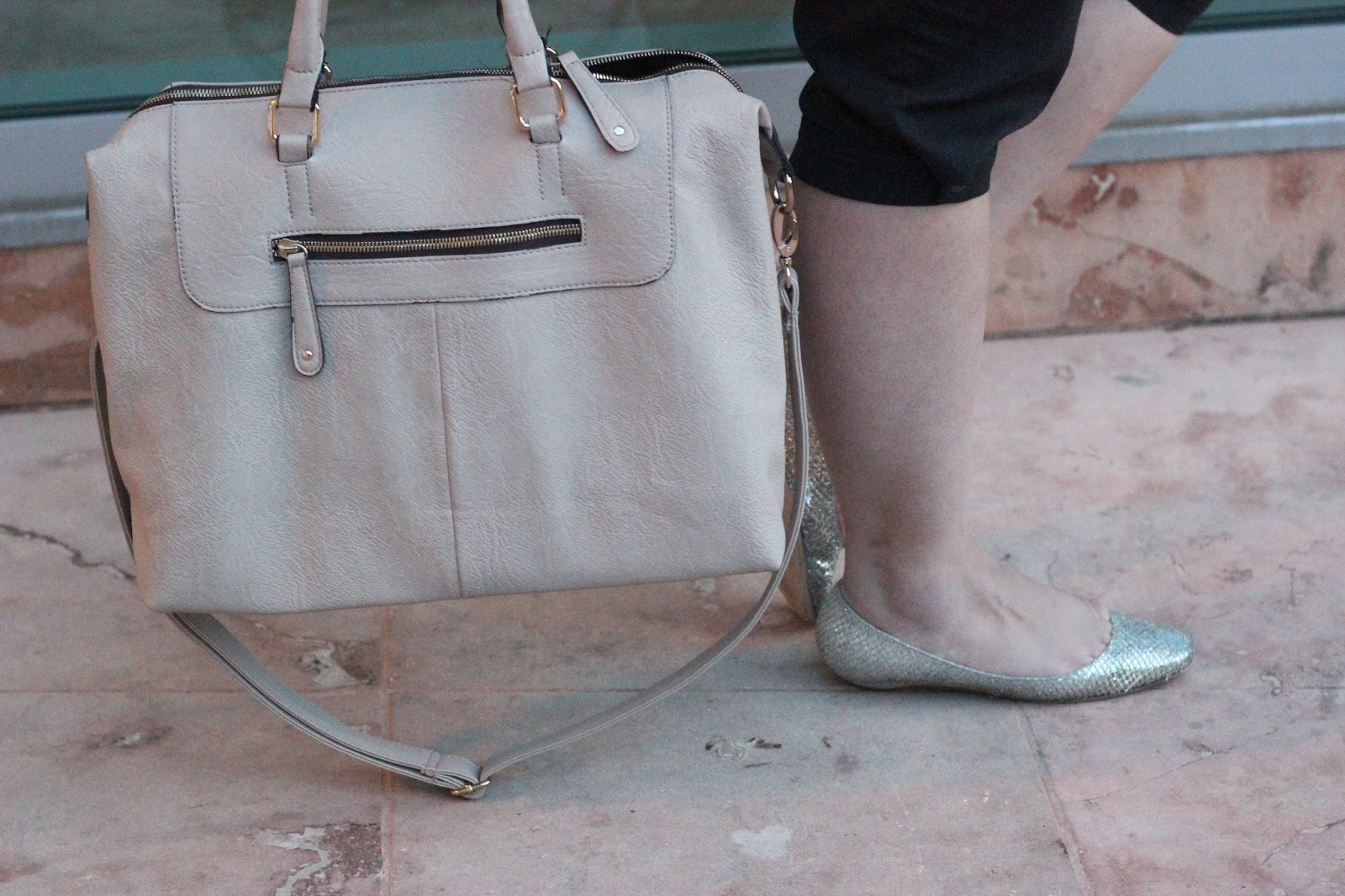 Nude Satchel and Jimmy Choo Flats