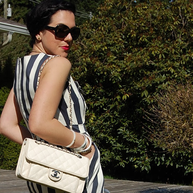 Vertical striped dress and Chanel flap bag