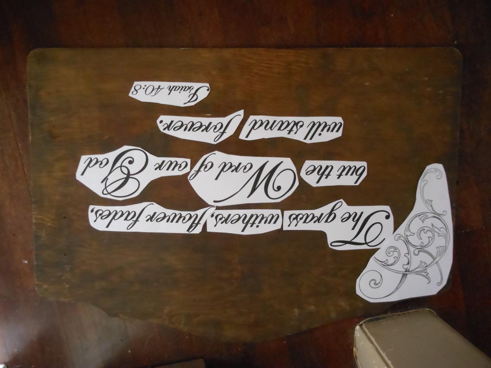 saw dust art: Isaiah 40:8 garden plaque