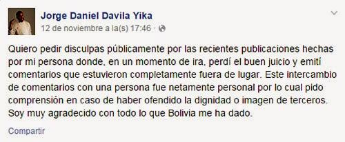 La disculpa de Jorge Daniel Dávila Yika