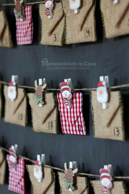 Clothespins, burlap ribbon, jute rope, chalkboard, calendar