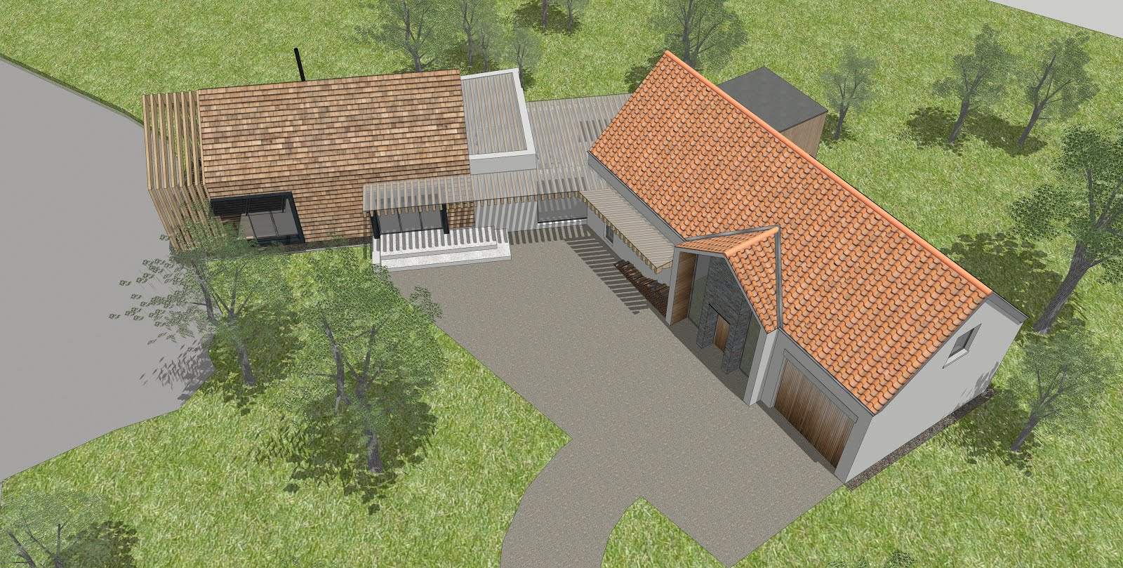 Oak framed house gets planning permission peregrine mears architects aerial view of scheme baanklon Gallery