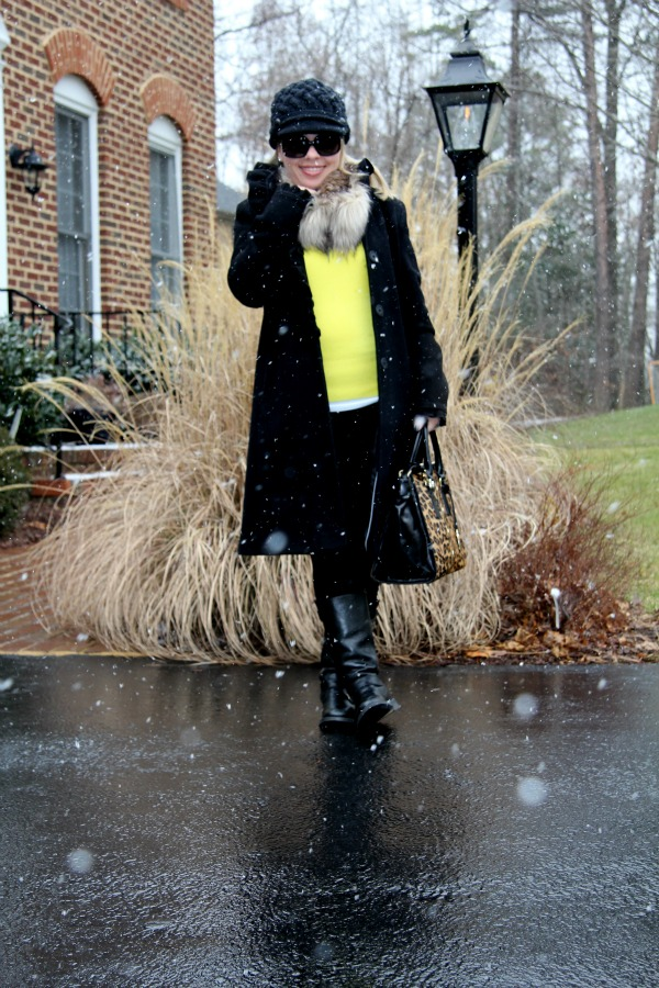 Pants: Zara, Coat: DKNY, Sweater: Forever 21 (similar here), Boots: Really old from my closet, Bag: Milly Harper Calf Hair Tote Bag, Accessories: My Own, Sunglasses: Oversized Round Check from Burberry, Watch: Unlisted, Scarf and Hat: Target