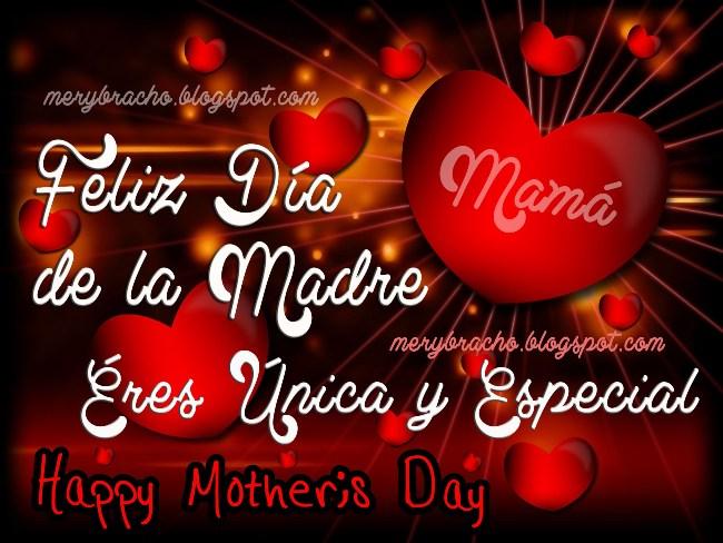 Feliz Día de la Madre. Eres Especial. Felicitaciones Mamá por tu día, 10 mayo, 12 mayo. Bendiciones por día de las madres, tarjetas, imágenes, postales cristianas para compartir por facebook. Poemas cristianos, dedicatoria corta para mi mamá, abuela, tía