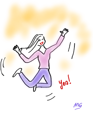 Woman Jumping For Joy Cartoon