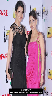 Kajal and Nisha Agarwal at filmfare awards
