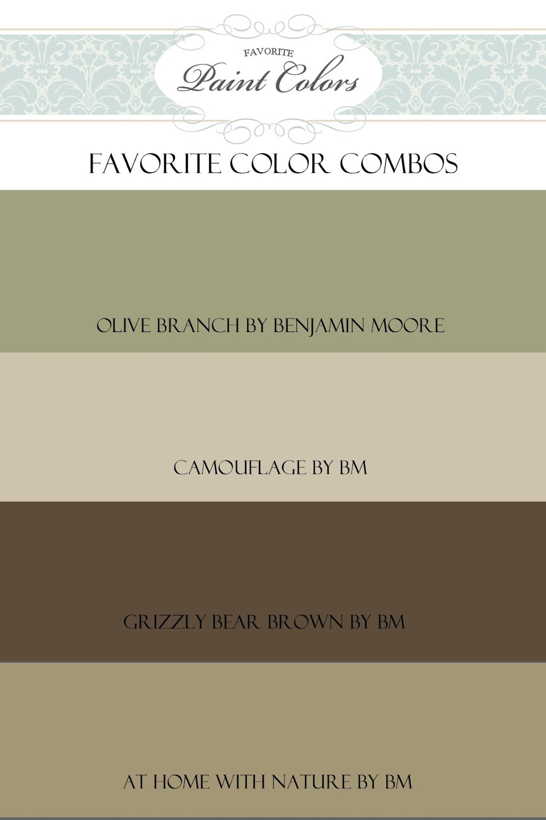 Favorite paint colors olive branch color combo - Colors that go with brown ...