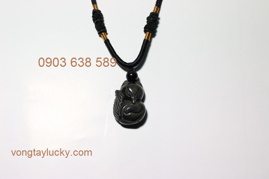 Dây chuyền hồ ly 9 đuôi Obsidian thiên nhiên