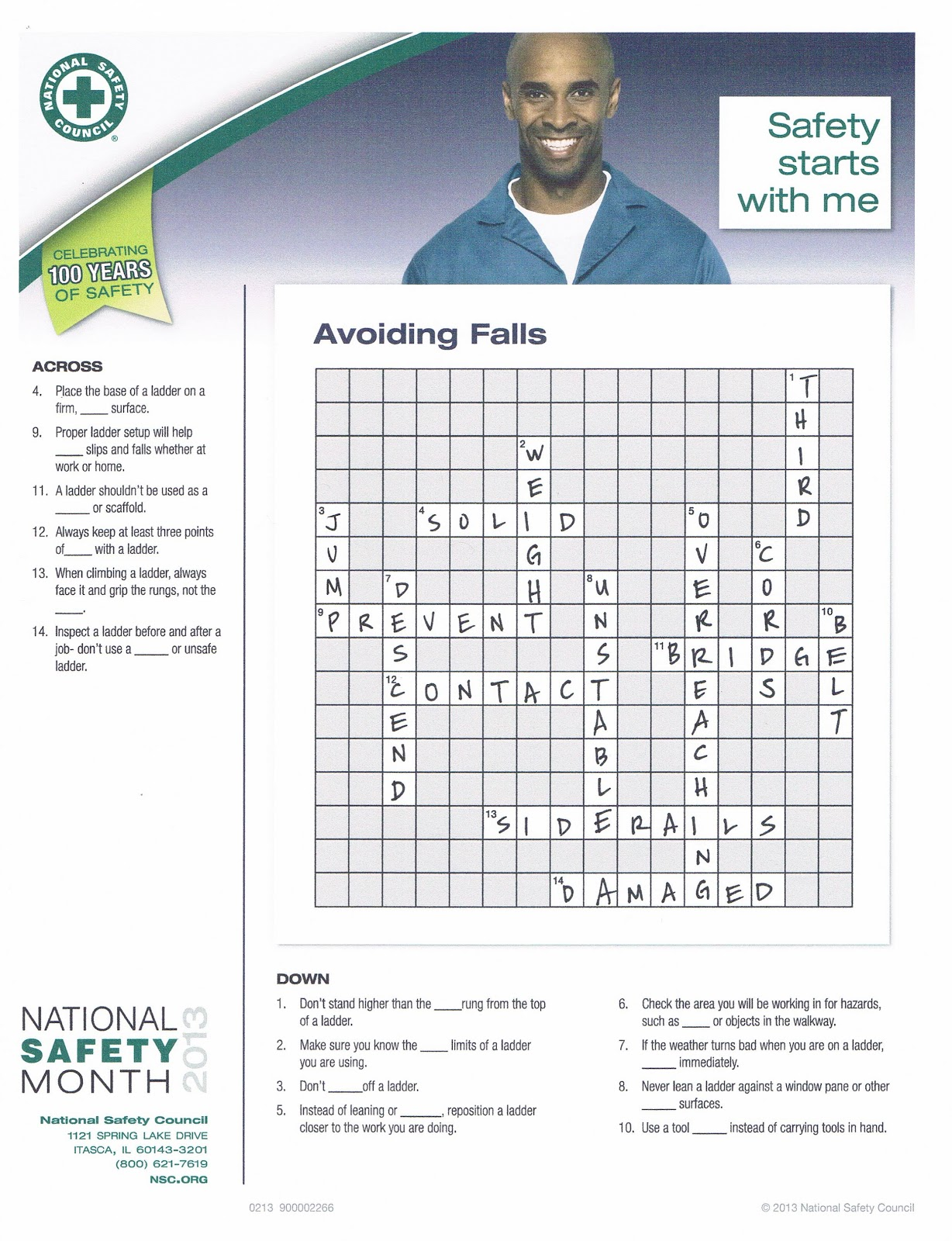 Free printable safety crossword puzzles