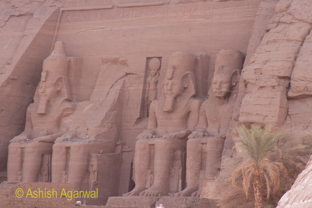 View from the side of the 4 large statues at the entrance to the Abu Simbel temple