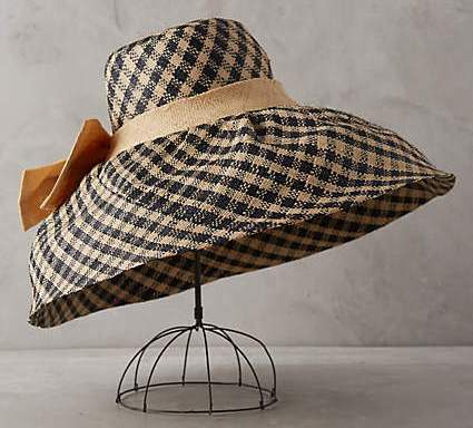 anthropologie raffia gingham sun hat on sale