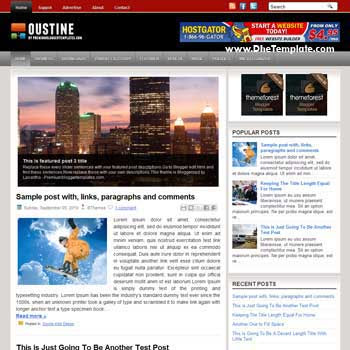 Oustine blog template. template image slider blog. magazine blogger template style