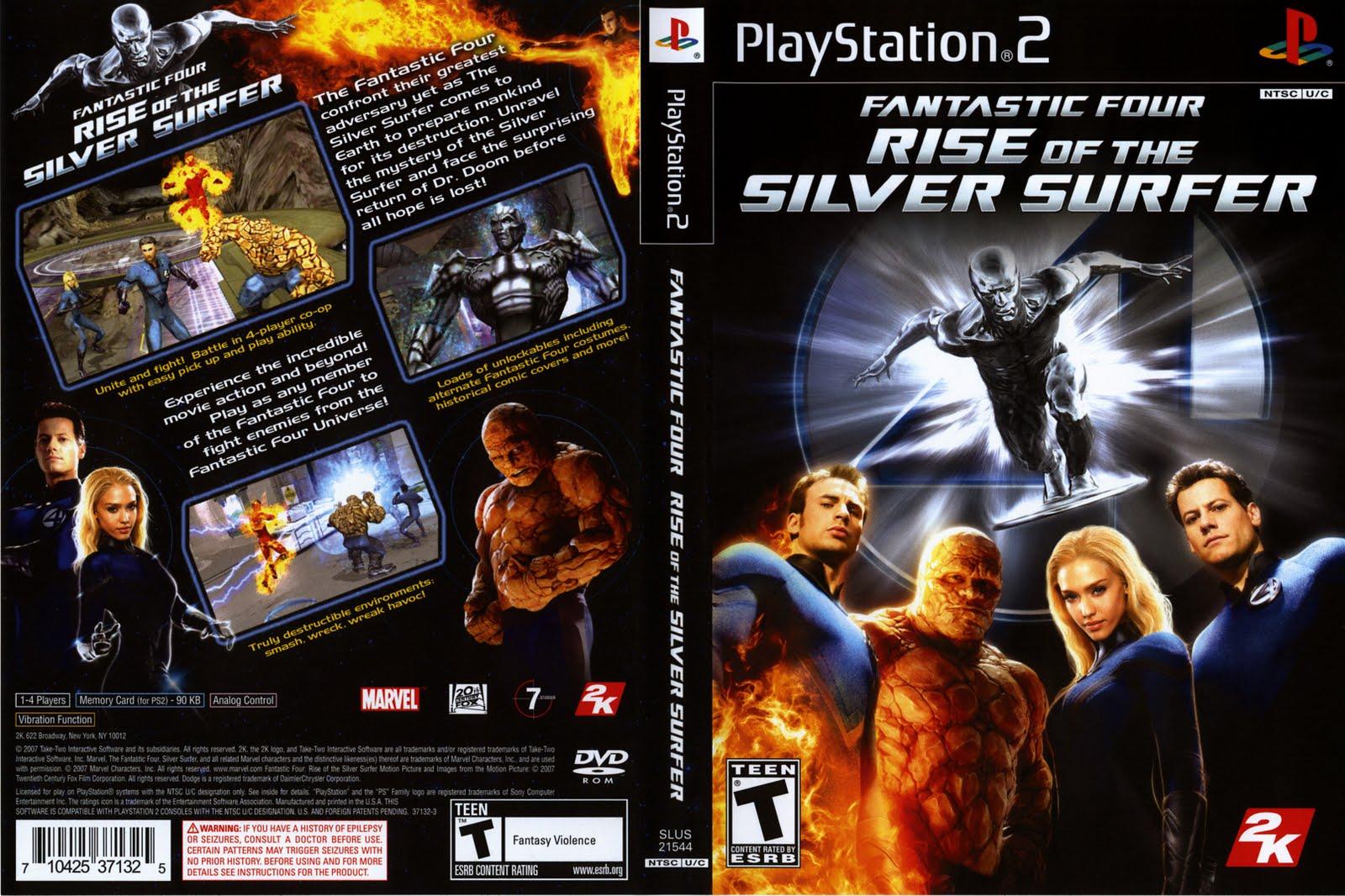 Jogo Quarteto Fantástico e o Surfista Prateado PS2 DVD Capa