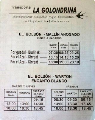 Laguitos, Cajón Azul, Warton, Horarios Bolson Warton