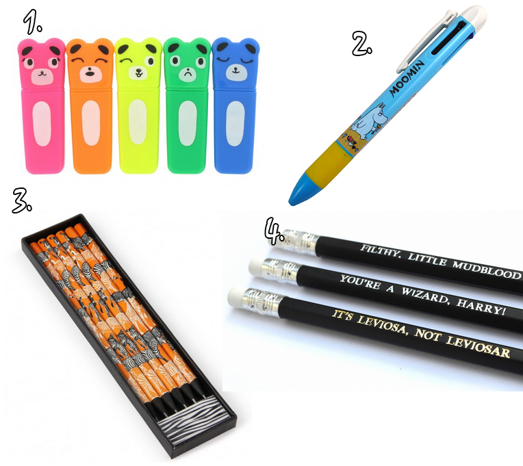 Bear Highlighters   Pack Of Five £3.00 [x] | 2. Moomin Multi Pen: Blue  £4.90 [x] | 3. Zanzibar Pencil Set In Box £5.00 [x] | 4. Harry Potter  Pencils £3.75 ...