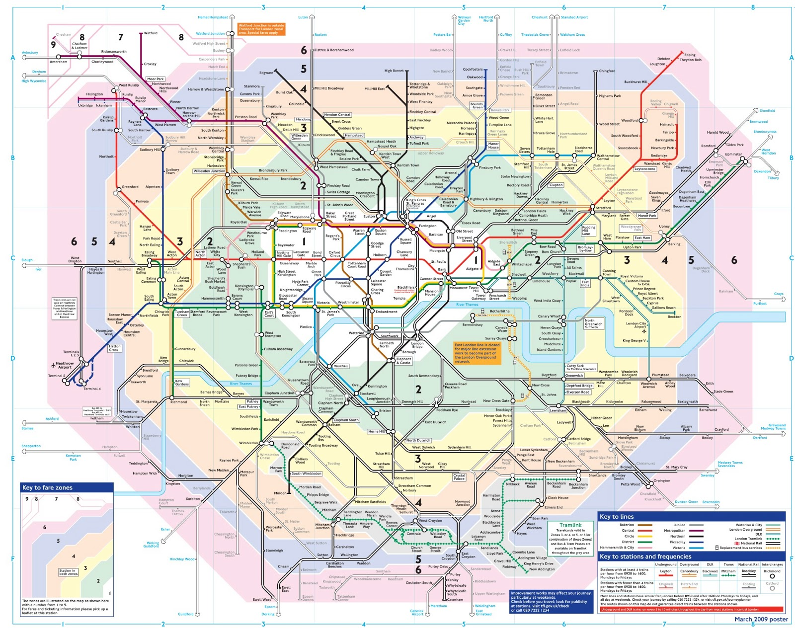 Time Zoning Faring System in London Transport – London Travel Zone Map