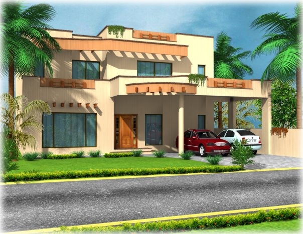 3D Front Elevation.com: 1 Kanal,10 Marla Plot Construction House Front ...