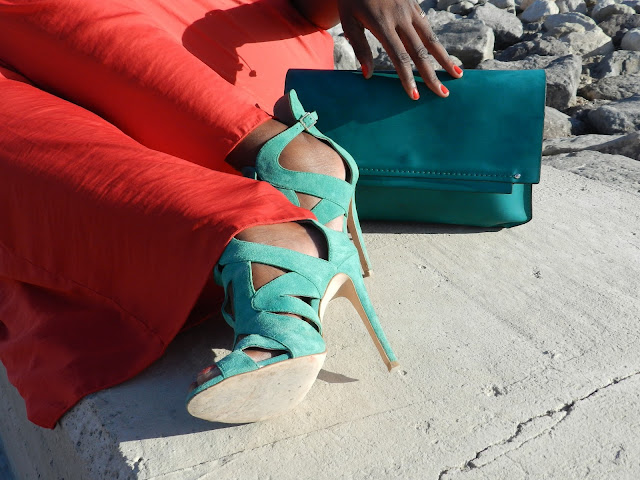green sandals and green bag