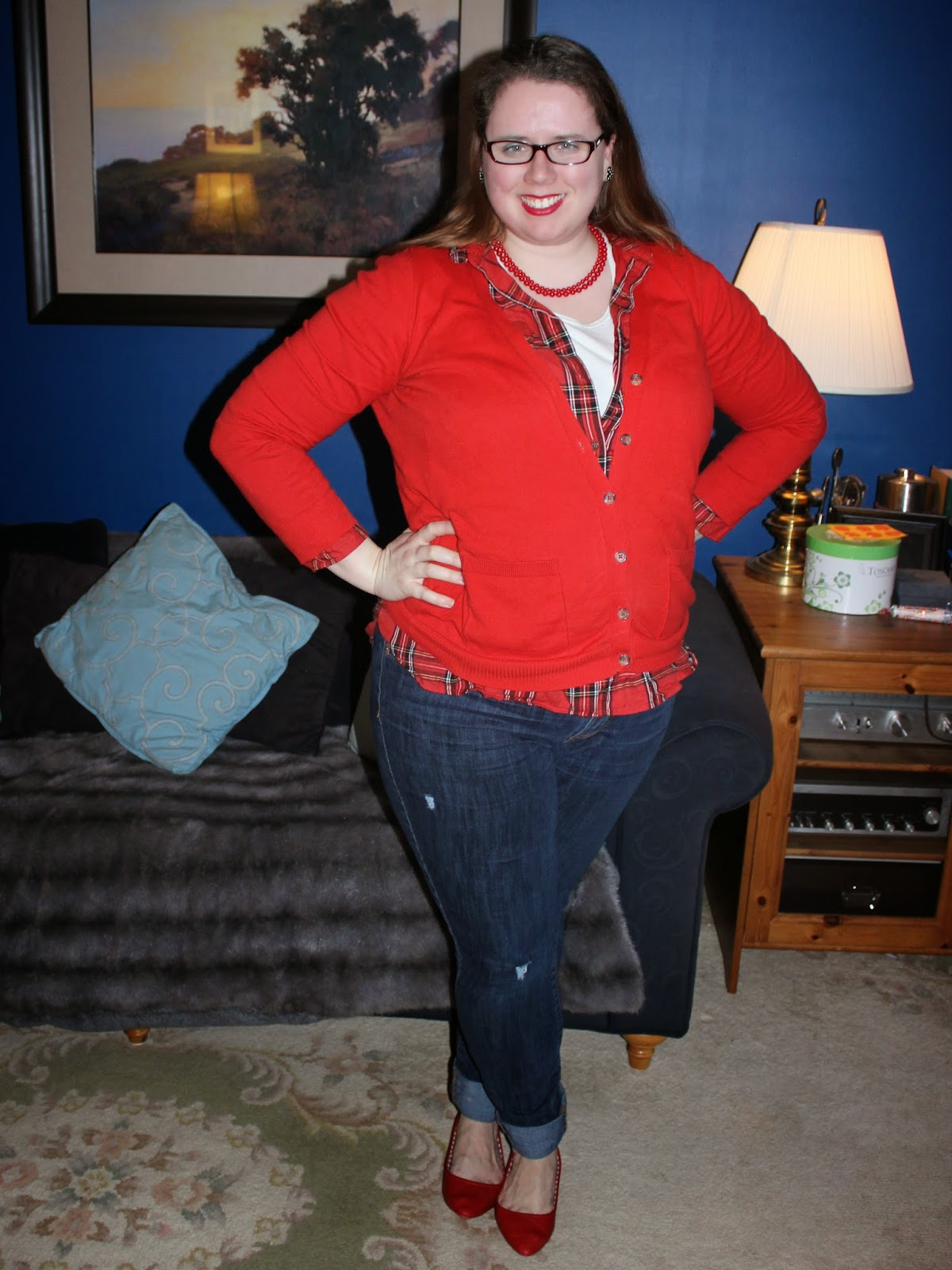 red cardigan, plaid button down, boyfriend jeans, red flats