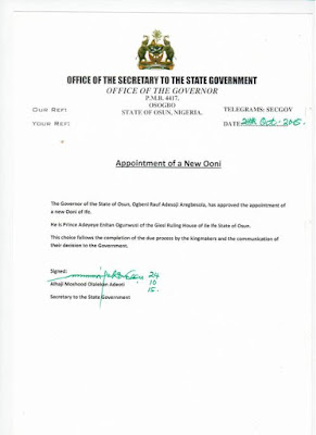 Appointment of new Ooni of Ife