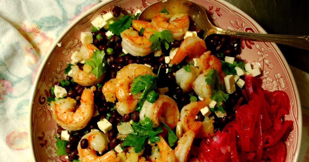 The Spice Garden: Black Bean Salad with Shrimp and Pickled Onions