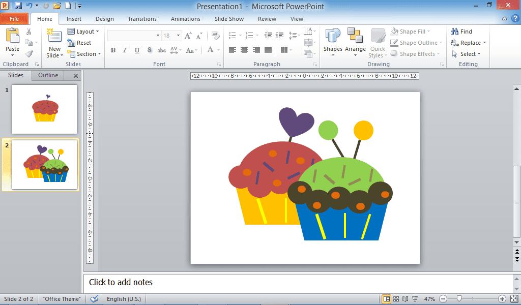 Kue cupcake, Powerpoint,