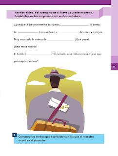 Apoyo Primaria Español 2do grado Bloque 3 lección 20 Los verbos del cuento