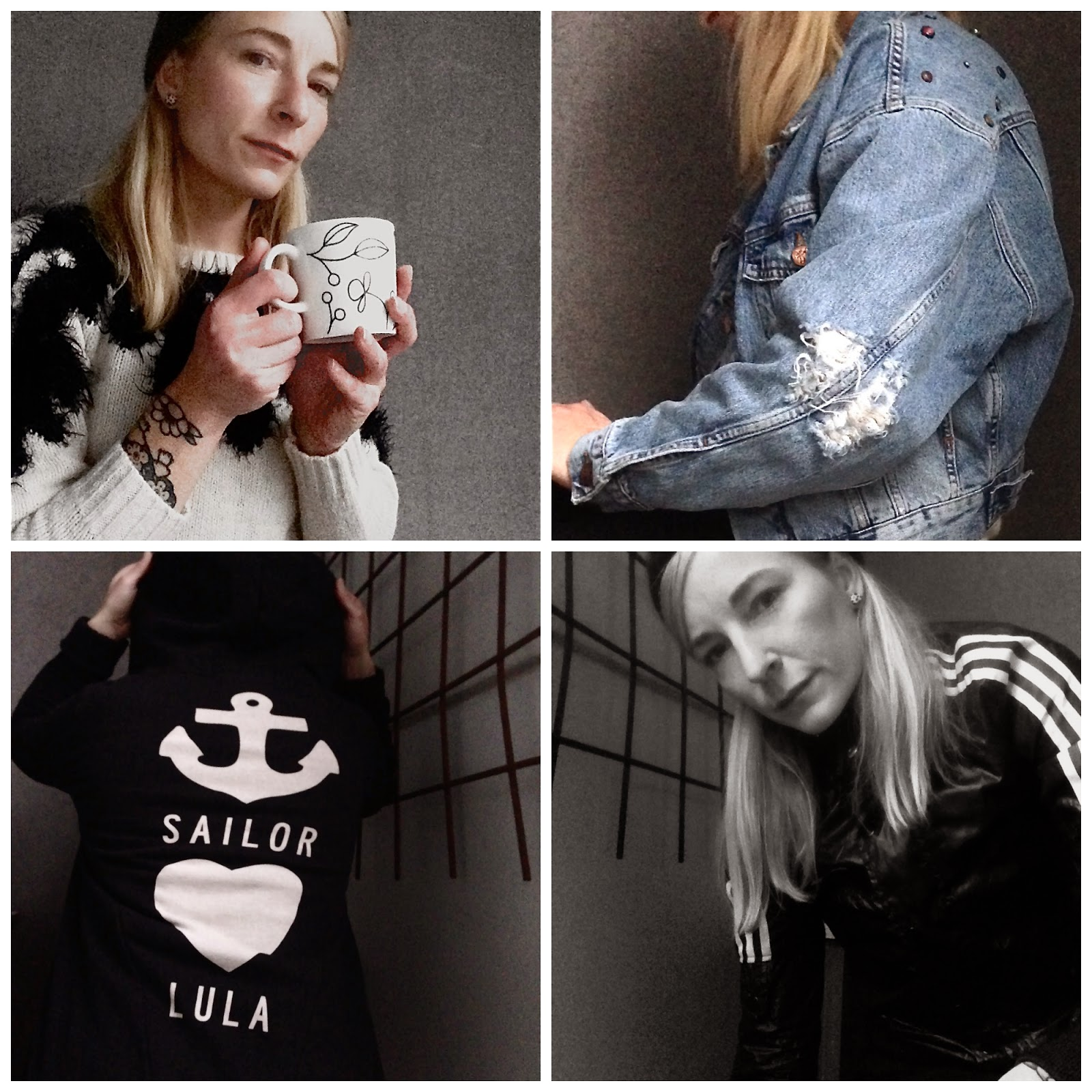 Loppisfynd, Fleamarket finds, Adidas jacket, Ctrl hoodie, Never Denim Jacket, Please jumper,  Jeans jacka, 80´s inspiration, åttiotals mode,  kashmere beanie