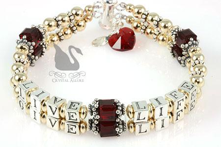 Charlene's Custom Live Life Give Life Red Heart Transplant Awareness Bracelet (B113-HRT-3)