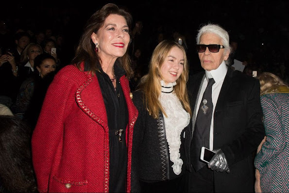 Princess Caroline of Hanover and with her youngest daughter Princess Alexandra of Hanover attends the Chanel Metiers d'Art Fashion Show in Rome
