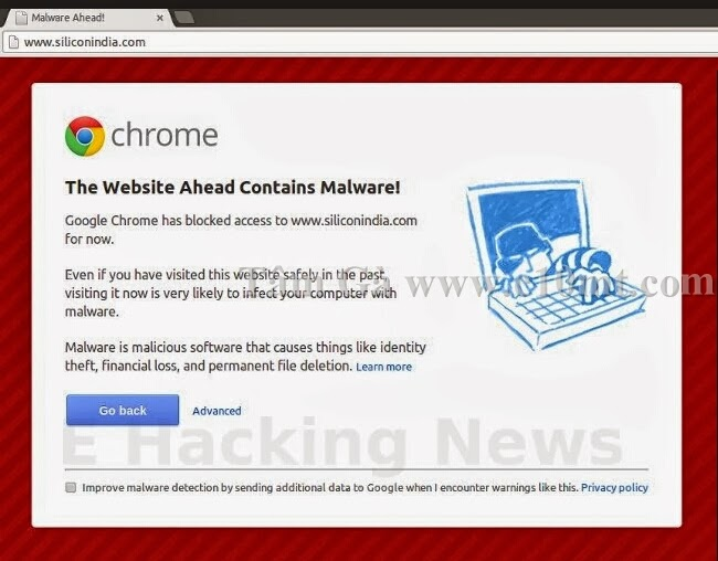 The Website Ahead Contains Malware