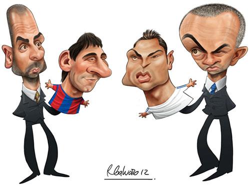 """""""Pep y Messi vs Mou y Ronaldo"""" por Ricardo Galvao"""