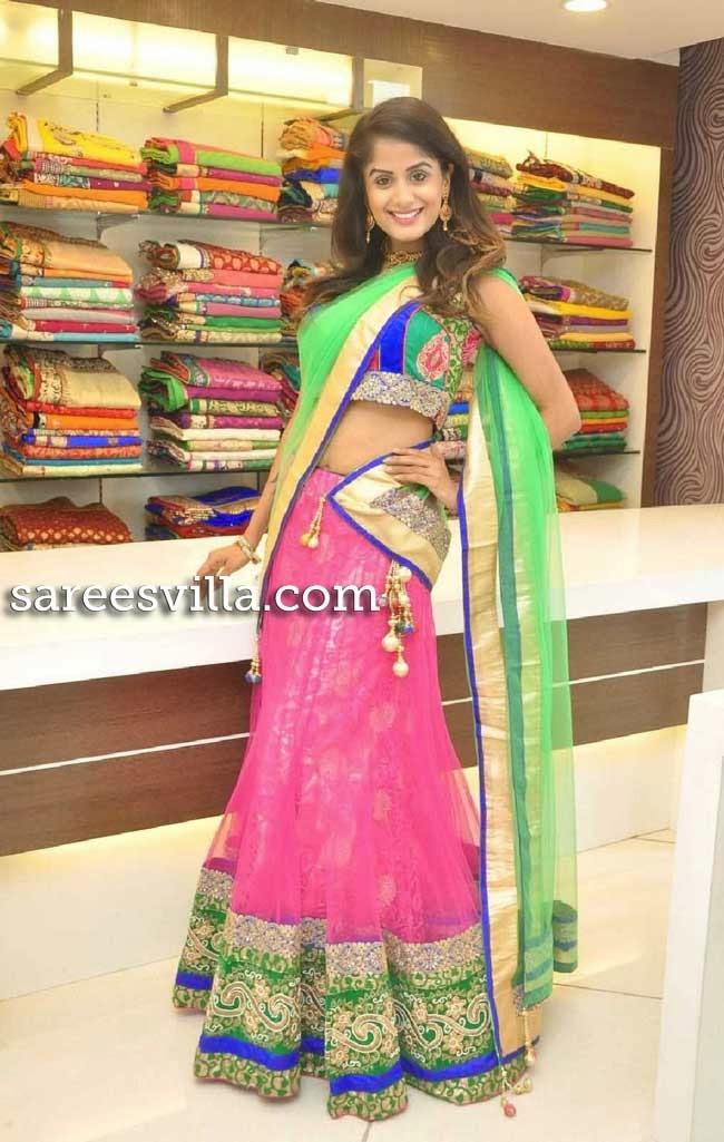 Anukriti in Pink and Green Half Saree