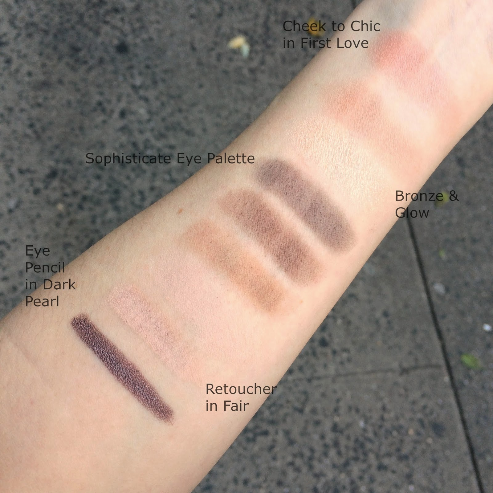Charlotte Tilbury makeup swatches on fair skin