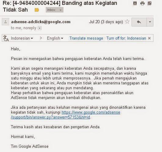 email balasan permohonan banding