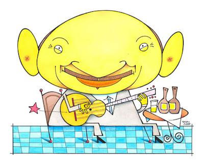 caricatura do compositor lupicinio rodrigues, em uma mesa de bar tocando violao, feita pelo caricaturista paladino.