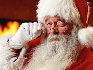 Santa Claus winks