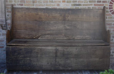 Pine Hall Bench (ref # 3361) 126 cm h x 190 cm w x 49 cm d via Garnier as seen on linenandlavender.net