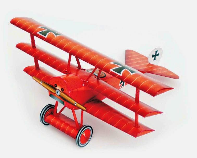 Fokker Dr.1 Triplane Paper Model of Red Baron Fame, Manfred von Richthofen