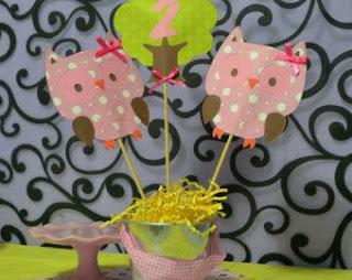 Fiestas Infantiles, Decoracion con Buhos y Lechuzas, Centros de Mesa, parte 2