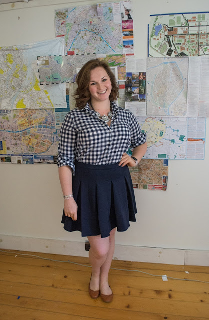 sunday style, navy, navy skirt, navy gingham, statement necklace, j crew crinkle gingham, cognac flats, cognac leather, navy and cognac, style, ootd, outfit, style post