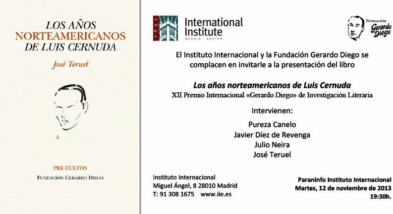 José Teruel, Los años norteamericanos de Luis Cernuda, Literaturas Hispánicas