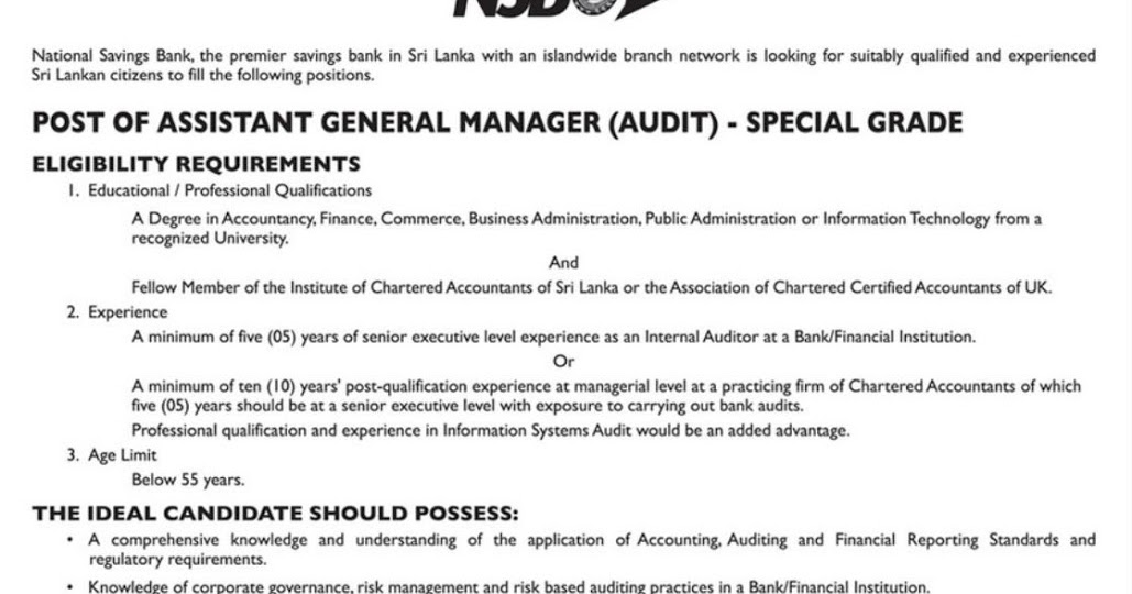 Vacancies - Assistant General Manager (Audit) - Government Jobs ...