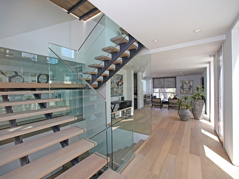 Stairs in Sharp modern home on Sunset Strip