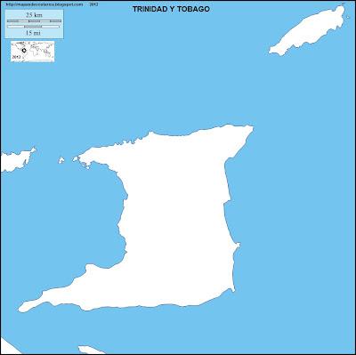 Mapa mudo de TRINIDAD Y TOBAGO