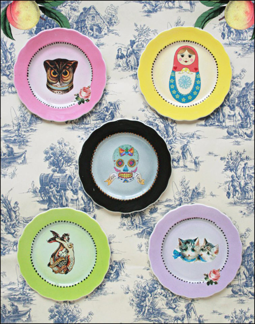 Pilfered+Decoupage+Transferred+Plates+Decals+on+Plates+Collection Painted and Decoupage Retro Vintage Patterned Crockery From Pilfered
